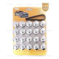 Колпачки пластиковые для болтов и гаек Блистер 20+1 под ключ 21 хром
