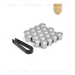 Колпачки пластиковые для болтов и гаек Блистер 20+1 под ключ 17 хром